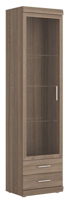 Park Lane Tall Glazed 1 Door 2 Drawer Narrow Cabinet In Oak Champagne StorageLiving Room