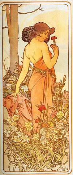 Carnation (From The Flowers Series) - Color lithograph - Alphonse Mucha - c. 1898