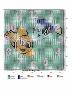 Needlepoint Patterns, Cross Stitch Patterns, Bead Patterns, Plastic Canvas Crafts, Plastic Canvas Patterns, Disney Canvas, Orange And Turquoise, Cross Stitching, Sewing Projects