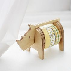 Rhinoceros Wooden Masking Tape Holder Tapes by SweetSuppliesStore, ¥2400