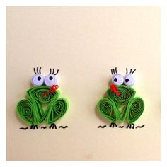 Green Frogs Card Quilled Frogs Card Blank Card от ElPetitTaller