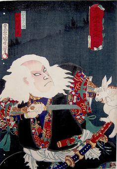 Kunichika, Magic In the Twelve Signs of the Zodiac - Iga no Jutaro Killing a Hare-Kunichika, Magic In the Twelve Signs of the Zodiac, Iga no...