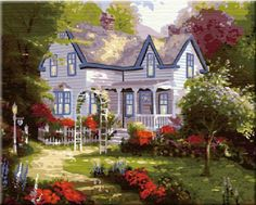 DIY PBN-paint by number famous painting Spring House by Thomas Kinkade 16X20 inches Frameless. ES Art http://www.amazon.com/dp/B00OK5FN6M/ref=cm_sw_r_pi_dp_diFXub0SW1V3D