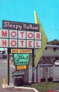 The Sleepy Hollow Motor Hotel and Red Carpet Cocktail Lounge in Elkhart, Indiana.  Unfortunately, the Red Carpet rather made a lie of the Sleepy Hollow.