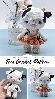 Crochet Cow, Crochet Patterns Amigurumi, Amigurumi Doll, Crochet Animals, Free Crochet, Cow Pattern, Free Pattern, Knitted Dolls, Crochet Projects