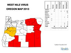 West nile virus Oregon map by Oregon Acute and Communicable Disease Prevention.