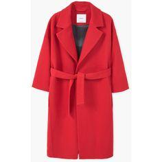 MANGO Belt Wool Coat (13.720 RUB) ❤ liked on Polyvore featuring outerwear, coats, fur-lined coats, mango coat, wool coat, woolen coat and lapel coat