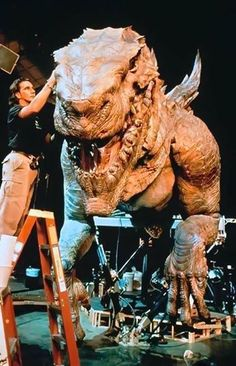 Breathing life into giant monstrosities. Pictured: creature designer Patrick Tatopoulos works on one of his amazing creations, GODZILLA, for the movie version from 1998.