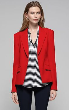 Red blazer, stripes, black skinny pants - love it!