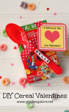 Personalized DIY Cereal Valentines for kids! These would be cute Valentines for classmates and friends!