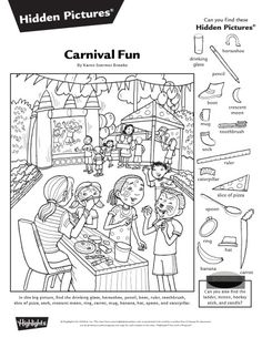 Hidden Pictures Printables, Highlights Hidden Pictures, Hidden Picture Puzzles, Jokes And Riddles, Paper Games, Fun Worksheets, Hidden Objects, Activity Sheets, Puzzles For Kids