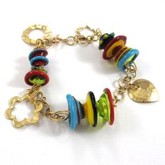 Glass bracelet  Lampwork bracelet  OOAK Jellyfish by SariGlassman, $95.00