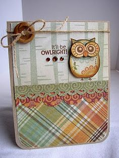 Cute Fall Wise Owl Card...with embellishments, twine & button...Handmade Creations by Stephanie.