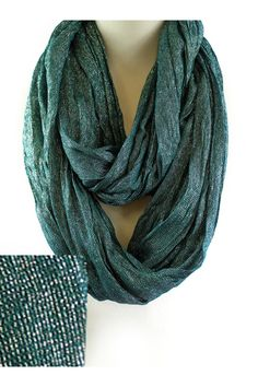 Shimmer Liam Infinity Scarf in Evergreen