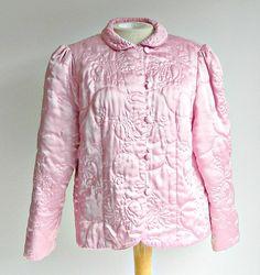 Vintage Pink Boudoir Jacket, Pink Bed Jacket, Quilted Bed Jacket, Size Medium.