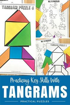 4 BIG Reasons Why You Should Be Using Tangram Puzzles! Develop key skills with practical and fun puzzles! These fun tangram games and puzzles foster creative thinking, promote problem solving, increase spatial reasoning, AND allow you to easily differenti 2nd Grade Classroom, First Grade Math, Math Classroom, Fourth Grade, Preschool Math, Kindergarten Math, Math Activities, Maths, English Activities