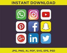 Social media icons & logo SVG files, Ai, Jpeg, Png. Facebook, Twitter, Linkedin, Instagram, Whatsapp, Google +, Youtube, Snapchat, Pinterest #Whatsapp #Facebook #Instagram #Snapchat