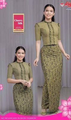 Myanmar Traditional Dress, Traditional Dresses, African Fashion Dresses, African Dress, Myanmar Dress Design, Beautiful Long Dresses, Batik Fashion, Dress Neck Designs, Daily Dress