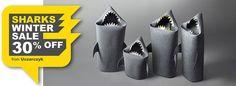 SHARK FAMILY SALE Shark felt kids toy storage basket by Uczarczyk
