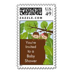 Monkey Twins Baby Shower Postage Stamp girl boy