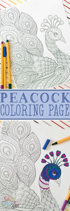 Free Adult Coloring Page - this peacock coloring page is so awesome!