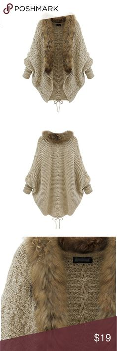Faux Fur Collar Cardigan Womens Girls Batwing Knitted Sweater Fur Collar Cardigan Coat  Open with big faux fur collar in the front, keep you warm, fashion and very soft.  It will looks great with jeans,leggings and boots.  Our knit cardigan coat is suitable for party, casual, club and so on.  Perfect Christmas gift to party for girlfriend, wife, mother etc.  Style: Korean Fashion, Long Coat, Slim  Material: Wool Blend  Color: Apricot  One size: Bust…