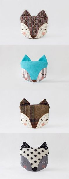 Sleepy fox pillows http://knuffelsalacarteblog.blogspot.nl/