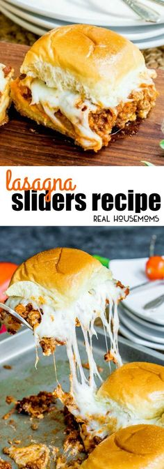 These Lasagna Sliders are bite sized sandwiches filled with all of the flavors of a classic lasagna! They're the perfect bite for your next party! via @realhousemoms