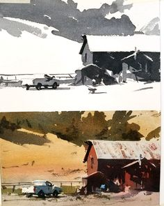 Watercolor painting art videos on how to paint street scenes & architecture, night scenes with people and coastal beaches with atmosphere in the landscape from Andy Evansen, a nationally acclaimed artist, and workshop teacher Watercolor Barns, Watercolor Architecture, Watercolor Sketchbook, Watercolor Landscape Paintings, Watercolor Illustration, Watercolour Painting, Landscape Art, Painting & Drawing, Watercolors