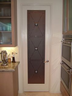 Pantry Glass Door | Etched Glass Pantry Door Cross Hatch Pantry