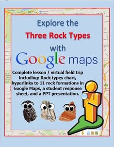 Click around this Google Maps webquest to explore locations that showcase igneous, metamorphic, and sedimentary rocks! This activity provides you with:-Student response sheet (PDF and Word)- Print it or distribute digitally. 11 links to 360 degree views of rock formations throughout the world are embedded into this sheet. - PowerPoint for teacher presentation- After students explore the links on their sheet, review the exact locations visited with this PowerPoint that contains discussion…