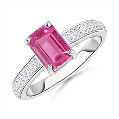 Angara Emerald-Cut Pink Sapphire Diamond Engagement Ring in White Gold 9BbuwpGUa