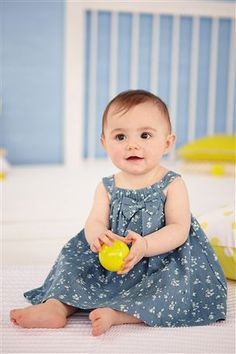 Buy Blue Floral Denim Dress And Yellow Cardigan Two Piece Set (0-18mths) from the Next UK online shop