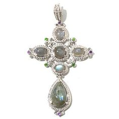 131-856 - Dallas Prince Designs Sterling Silver Labradorite, Chrome Diopside & Amethyst Enhancer