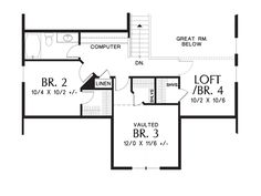 Upper Floor Plan of Mascord Plan 2185AB - The Scappoose - Charming Cottage with Master on Main Floor