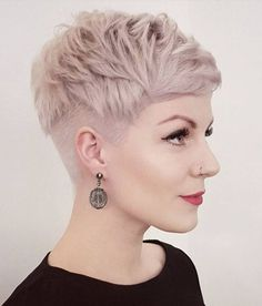 Blonde Feathered Pixie With Undercut Very Short Pixie Cuts, Short Hair Cuts, Long Pixie, Curly Pixie, Blonde Short Hair Pixie, Pixie Cut Back, Pixie Cut Round Face, Pixie Haircut For Round Faces, Super Short Pixie