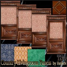 Country livingroom panels by HelleN at Sims Creativ via Sims 4 Updates #Sims4
