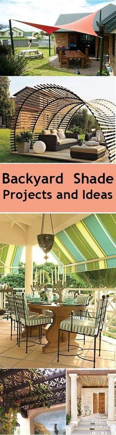 Love the colors of that striped awning and the use of natural materials or organic shapes for backyard shades.