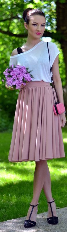 Fairytale Collection Shop Blush Pleated Midi A-skirt by My Silk Fairytale