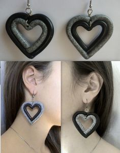 Handmade two colored heart earrings