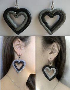 Handmade two colored heart earrings