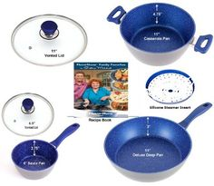 """FlavorStone Gemstone-Tough, Sapphire Non-Stick Cookware 6-Piece Deluxe 11"""" Grande Set: The Only Cookware You'll Ever Need."""