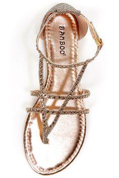 Bamboo Bloom 74 Rose Gold Glitter and Rhinestone Thong Sandals - $27.00