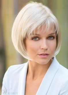Ericdress Womens 613 Short Bob Hairstyles Straight Synthetic Hair Wigs With Bangs Capless Wigs - Style Look Bob Hairstyles For Fine Hair, Layered Bob Hairstyles, Lob Hairstyle, Hairstyles With Bangs, Short Edgy Hairstyles, Hairstyles For Older Women, Medium Shag Haircuts, Haircut For Older Women, Bob Haircuts For Women