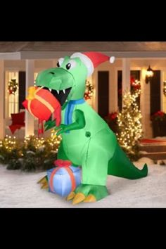 inflatable christmas prop t rex airblown outdoor yard decoration santa hat