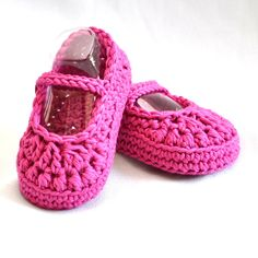 Cotton Baby Booties size 6 to 12 months, Mary Jane Baby Shoes in Raspberry, via Etsy.