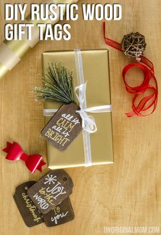 Rustic Stained Wood Gift Tags - unOriginal Mom