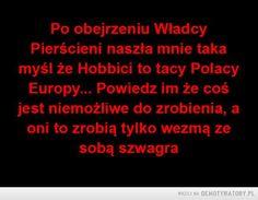 Cała prawda! –  Po obejrzeniu WładcyPierścieni naszła mnie takamyśl że Hobbici to tacy PolacyEuropy... Powiedz im że cośjest niemożliwe do zrobienia, aoni to zrobią tylko wezmą zesobą szwagra