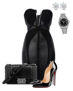 """""""Herve dresses are ultra sexy"""" by renelleboodoosingh on Polyvore featuring Hervé Léger, Chanel, Christian Louboutin and Rolex"""