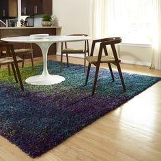 Cantebury Peacock/ Lime Shag Rug (5'2 x 7'7) | Overstock.com Shopping - Great Deals on Alexander Home 5x8 - 6x9 Rugs